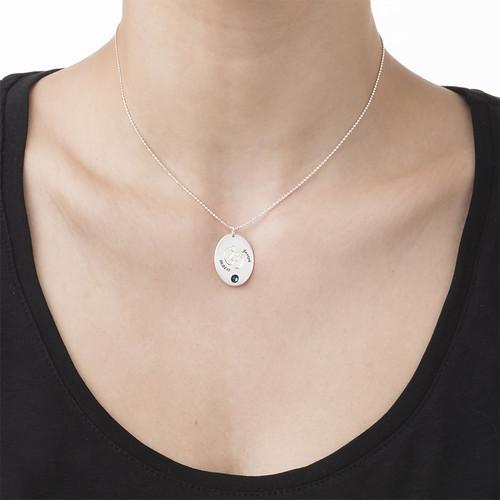 Halsband med Fotavtryck och månadssten - 1