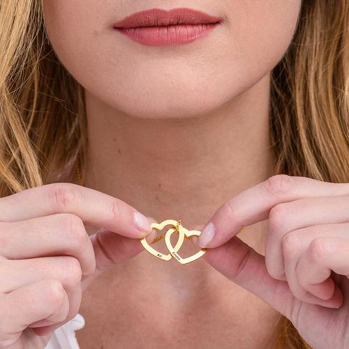 Halsband med sammanflätade hjärtan i 18K guldplätering - 1
