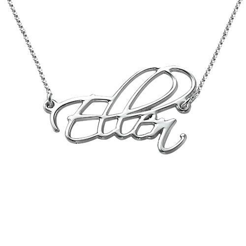 Personligt Handskrivet Namn Halsband i Sterling Silver