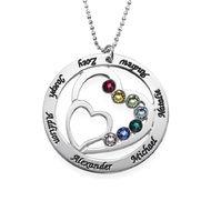 Hjärta i Hjärta med månadsstenar Halsband för mammor