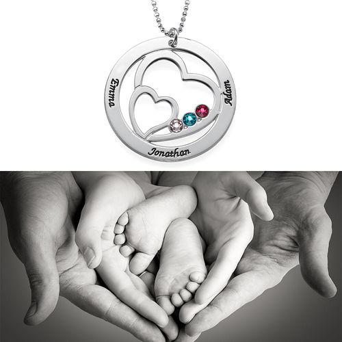 Hjärta i Hjärta med månadsstenar Halsband för mammor - 2