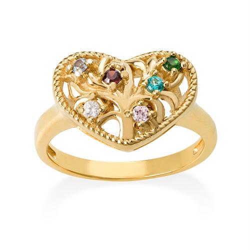 Hjärtformad Guldpläterad Ring med Swarovskistenar - 1