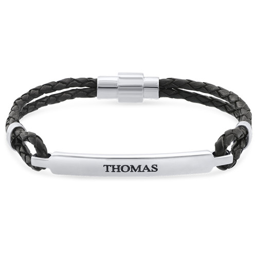 ID-armband för män i rostfritt stål och svart läder
