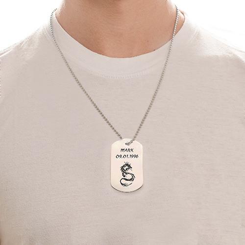 ID-brickshalsband med drake i rostfritt stål - 1