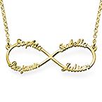 Infinity Halsband med 4 Namn i Guldplätering