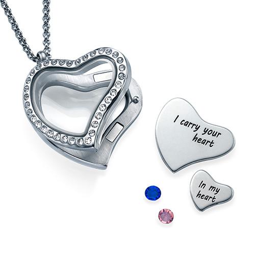 Jag bär ditt Hjärta Flytande Berlock Halsband - 1