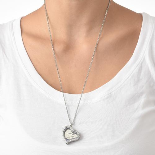 Jag bär ditt Hjärta Flytande Berlock Halsband - 4