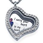 Jag bär ditt Hjärta Flytande Berlock Halsband
