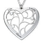 Livets träd-halsband i form av ett hjärta i sterlingssilver och med diamanter
