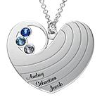 Mammahalsband med hjärta i sterlingssilver och med månadsstenar