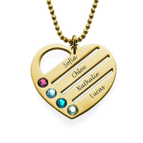 Månadsstenhalsband med graverade namn på hjärta - guldpläterat ... 4f72e904102d7
