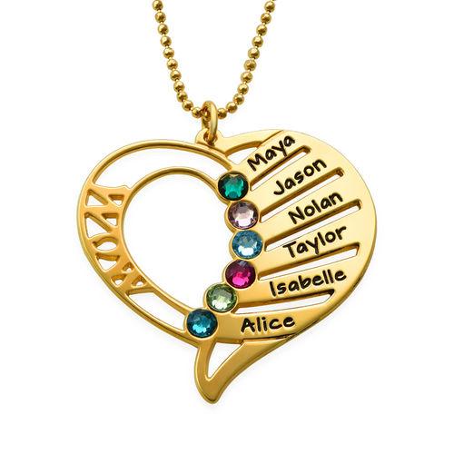 Mors graverade halsband med månadssten - guldpläterad  049147984291f