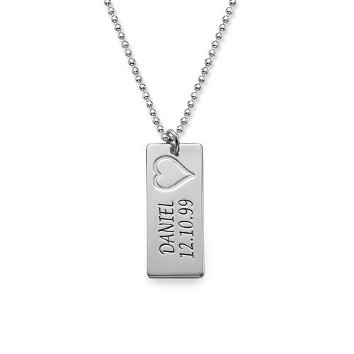 Namn Brick Halsband i Silver - 1