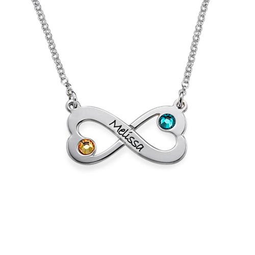 Oändlighets Halsband med Hjärta och Swarovski