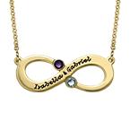 Par Infinity Halsband med Månadssten - Guldpläterat
