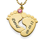 Personligt halsband med babyfötter - guldpläterat