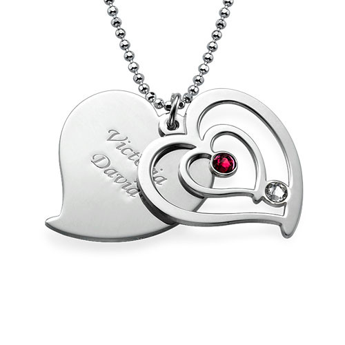 Personligt parhalsband med hjärta