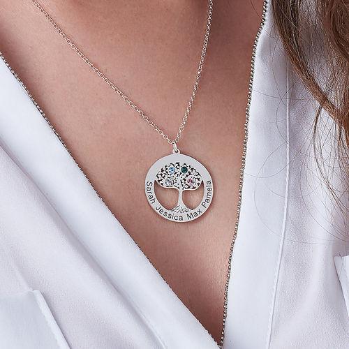 Runt Livsträds halsband med månadsstenar - 2