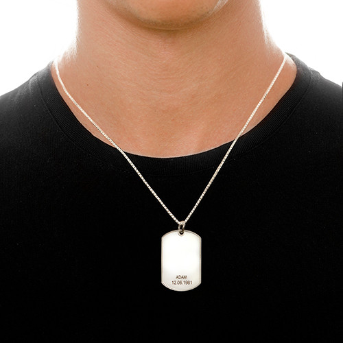 Sterling Silver Personlig Identitetsbricks Halsband - 1