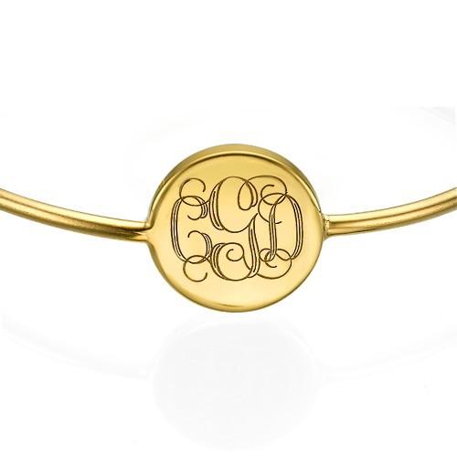 Stelt armband med Monogram gravering i 18k guldplätering - 1