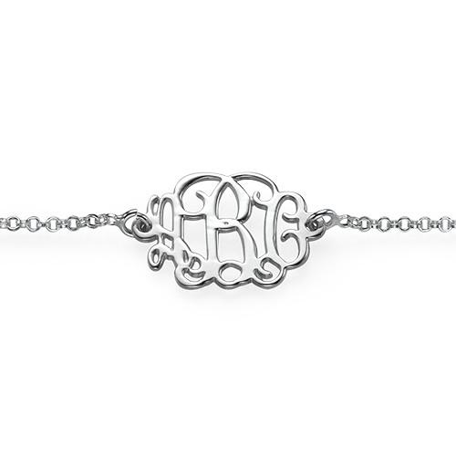 Sterling Silver Monogram Armband eller Fotlänk - 1