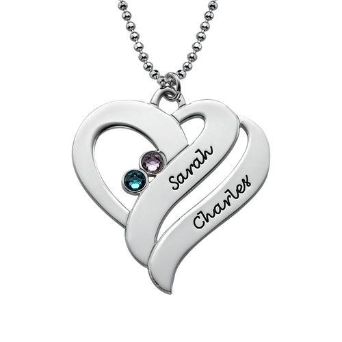Två hjärtan för evigt - halsband med månadsstenar  5f771e015553c