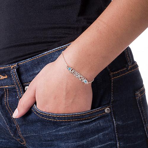 Utskuret Namn Armband med Månadsstenar - 2