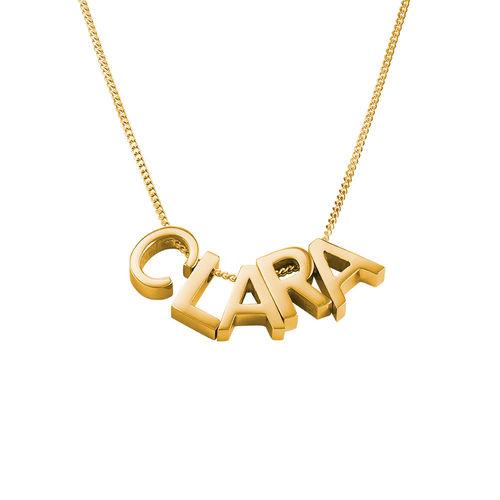 Personligt halsband med bokstäver för par med guldplätering