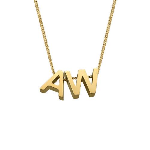 Personligt halsband med bokstäver för par med guldplätering - 1