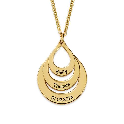 Graverat familjehalsband format som en droppe i guldplätering - 2