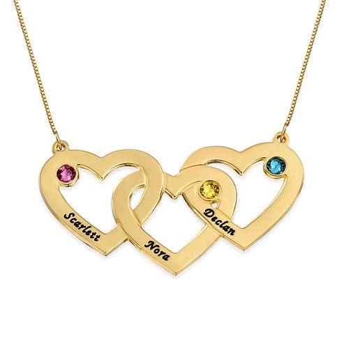 Halsband med månadssten och invävda hjärtan i 10k guld