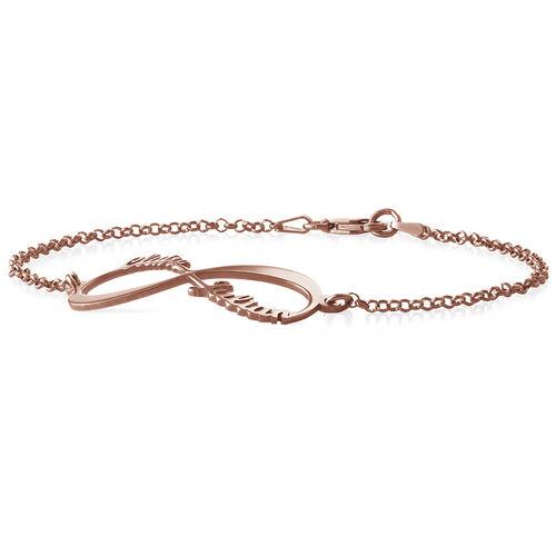Infinity-armband med namn - roseguldplätering - 1