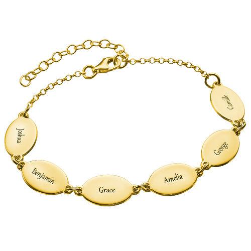 Guldpläterat mammaarmband med barnens namn  - Oval design