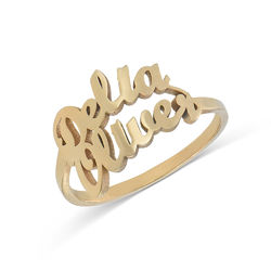 Personlig ring i guldplätering med två namn product photo