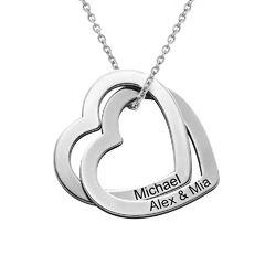 Halsband med sammanflätade hjärtan i sterlingsilver product photo