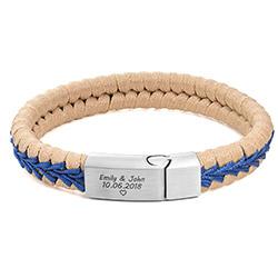 Beige Läderarmband med Lås i Rostfritt Stål till Herr product photo