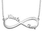 Infinity Name Sterling Silver Diamond Necklace