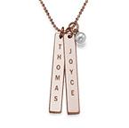 Graverat halsband med namnbricka med sötvattenpärlor - roseguldplätering