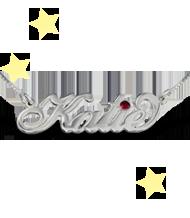 Silver Carrie- Stil namnsmycke med Swarovskikristall