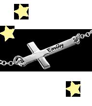 Graverat sid kors armband