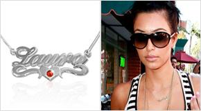Kim Kardashian med Silver och Swarovski Kristall Hjärt- Namnhalsband