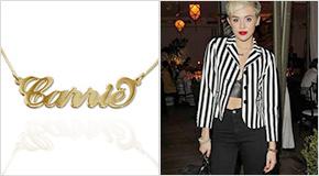 Miley Cyrus med 18K Guldpläterat Sterling Silver Carrie-Stil Namnhalsband