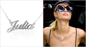 Paris Hilton med Litet Sterling Silver Namnhalsband