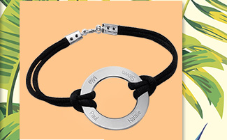 Graverat Infinity Cirkel Armband i Silver