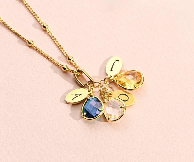 Custom Birthstone Drop Necklace for Mum
