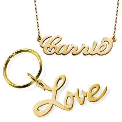 Carrie Necklace & Love Keyring Set