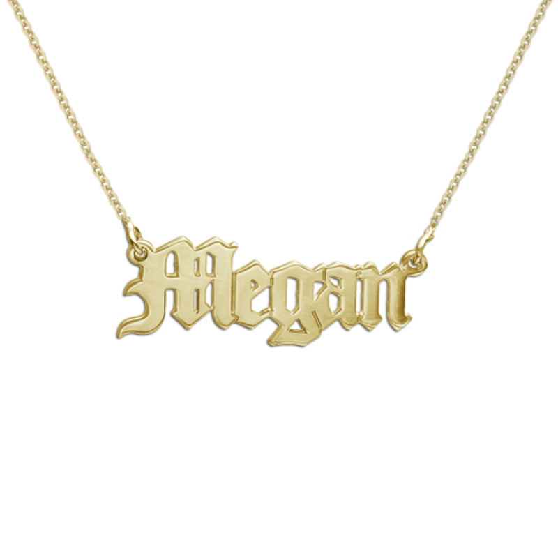 18ct Gold-Plated Silver Gothic Name Necklace