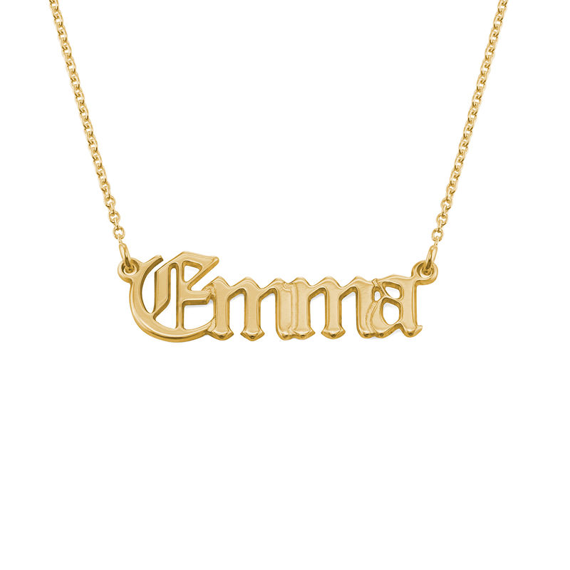 18ct Gold-Plated Silver Gothic Name Necklace - 1