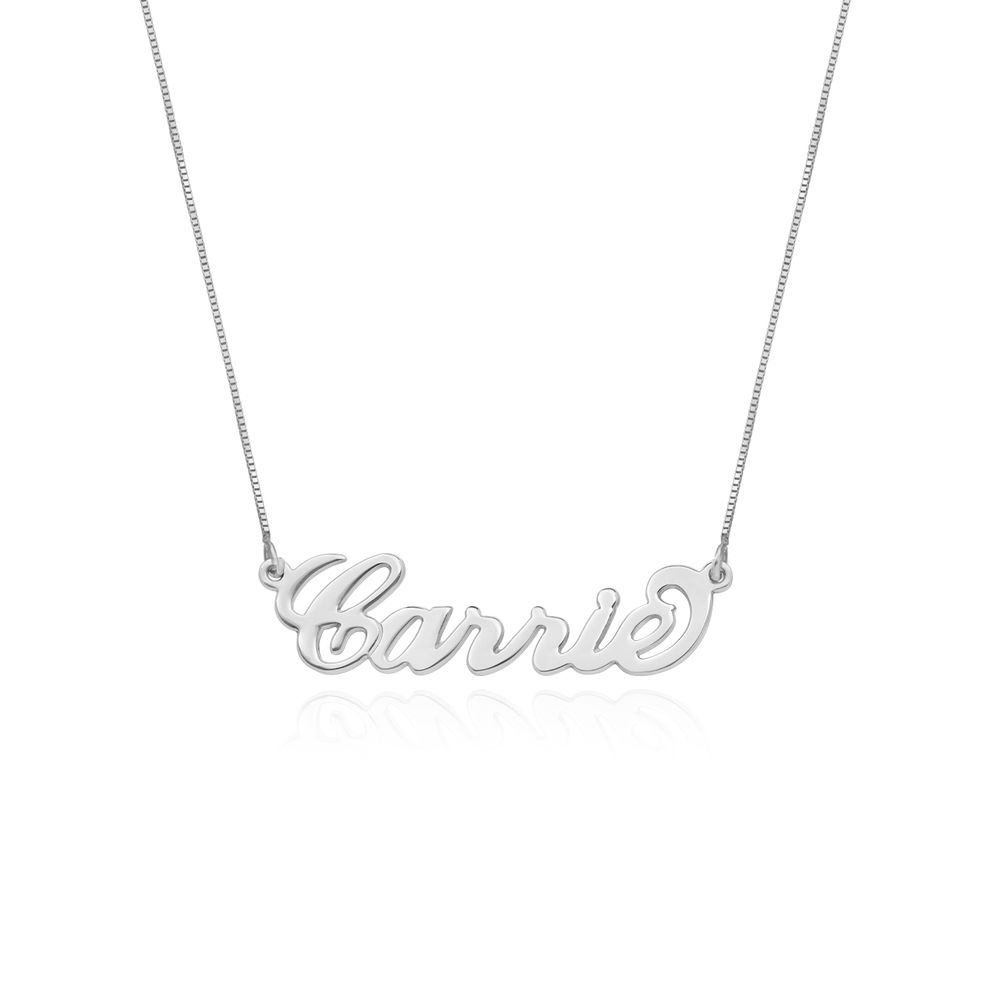 Small 14ct White Gold Carrie Style Name Necklace with Box Chain