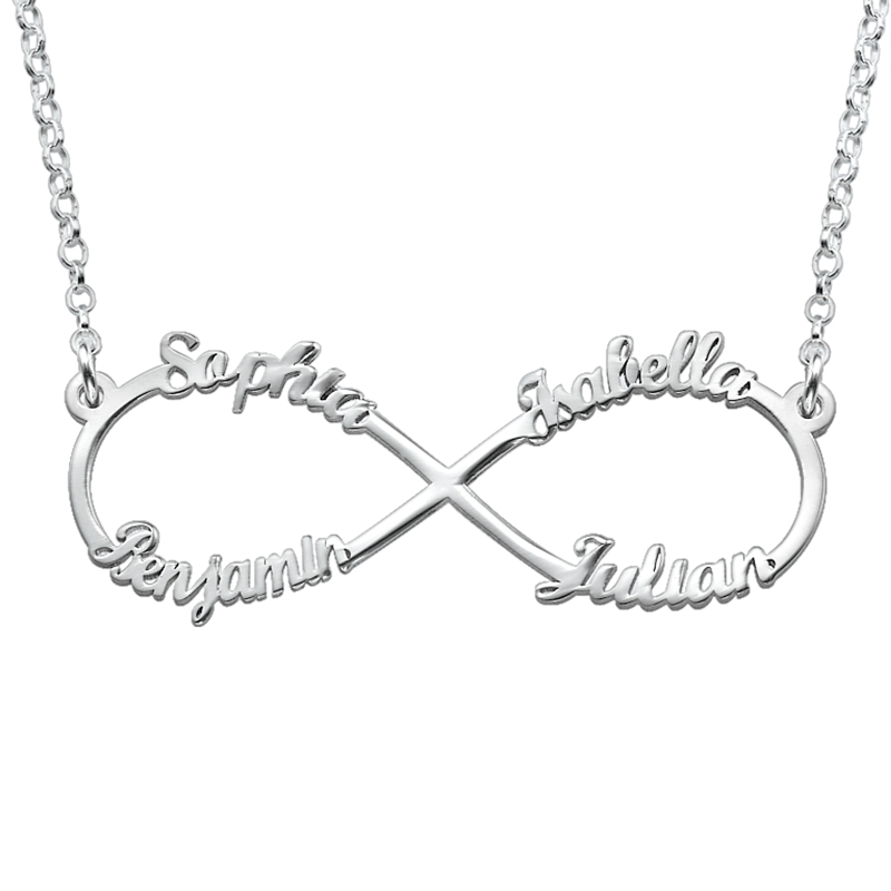 Infinity necklace with multiple names in silver